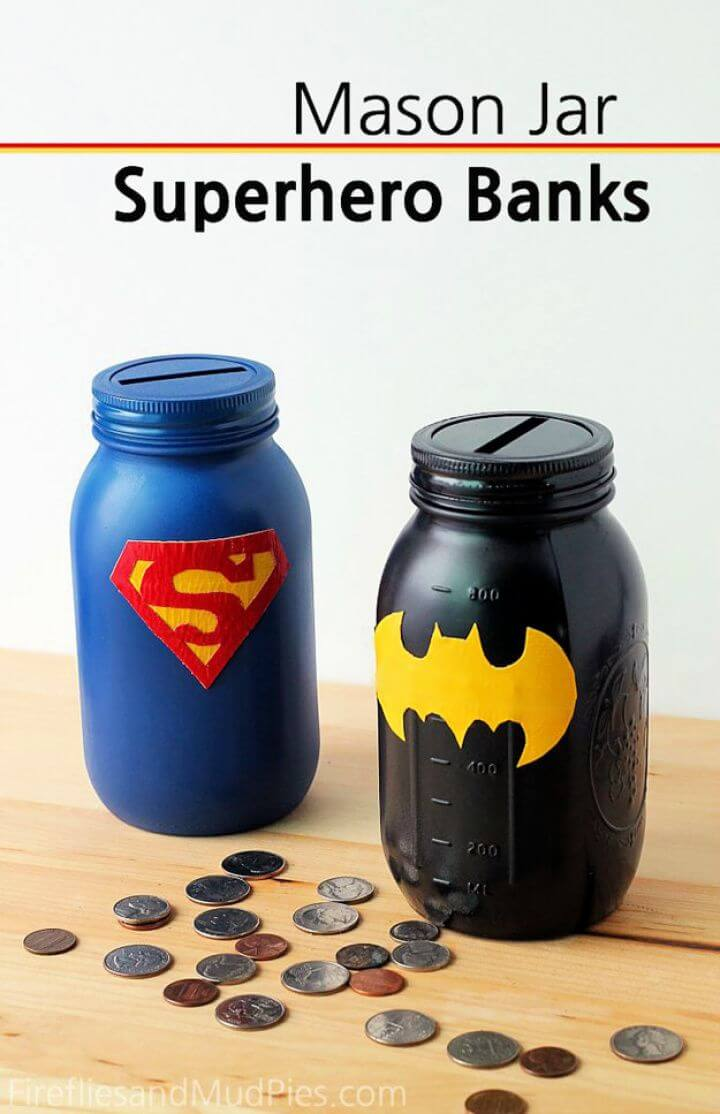 diy mason jars, crafts mason jars, super hero bank, bank mason jars, mason jar bank