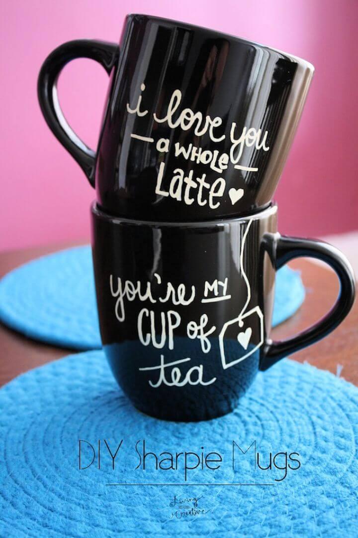 diy sharpie mugs, gift mug ideas, lovers coffee mug, how to crafts