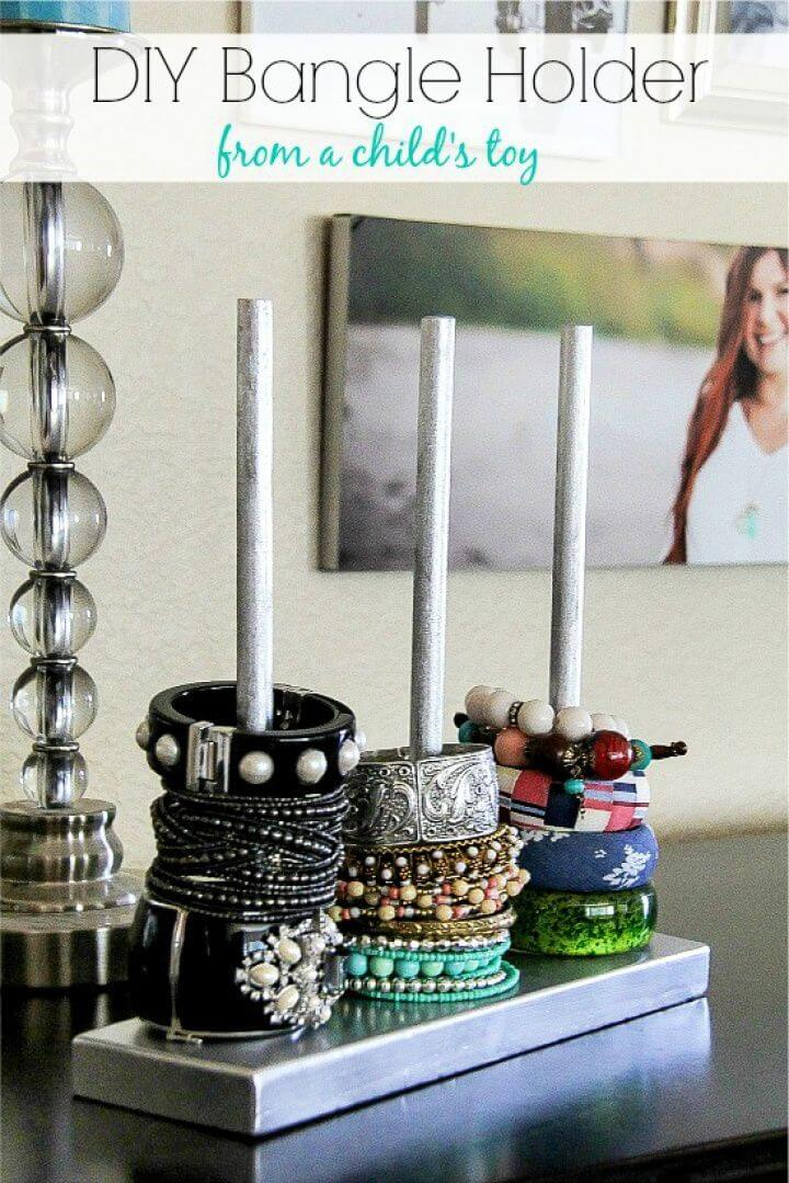 easy diy bangle, holder ideas, jewelry organization, organizer