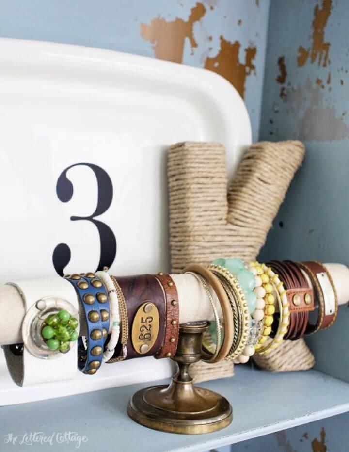 easy bracelet, diy holder display, cuff holder ideas, bracelet holder,