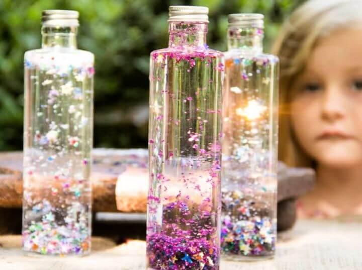 diy crafts for kids, glitter bottle, ideas, magic bottle for kids