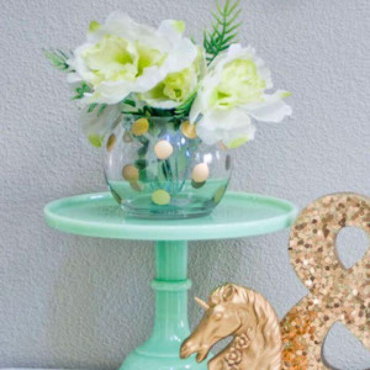 gold polka, dot vase ideas, crafts ideas, diy projects,