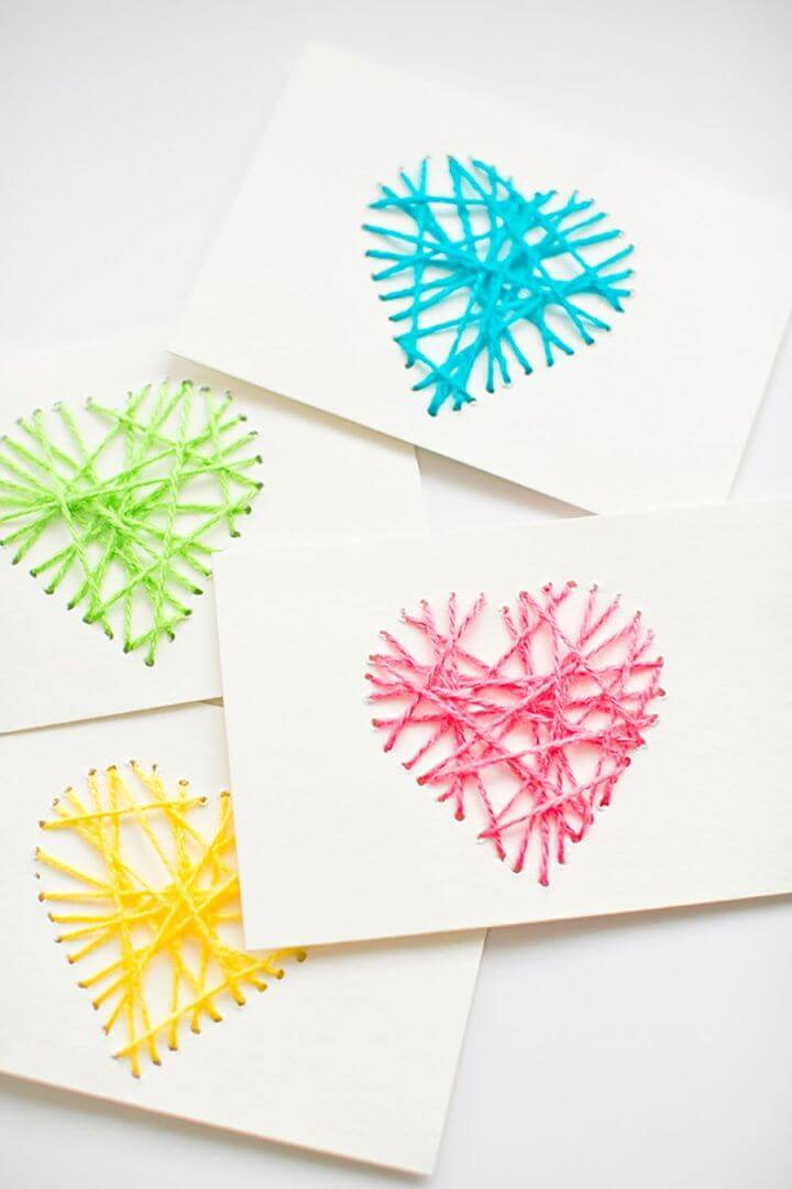 kids string, crafts, string card, mother day ideas, mother day crafts,