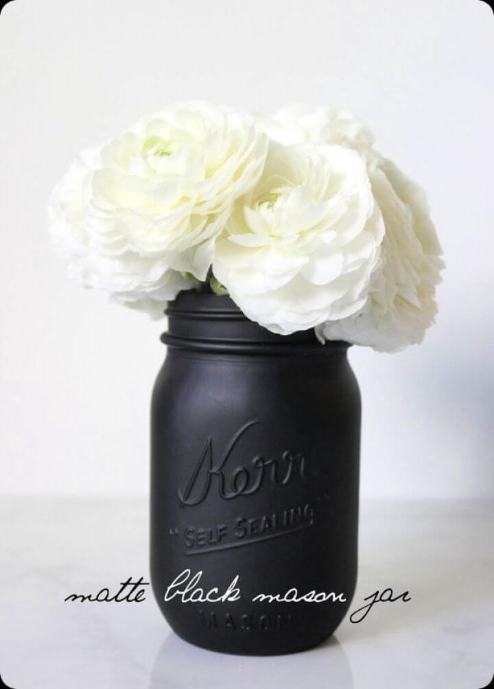 black mate mason jars, flowers mason jars, creative mason jars, gift mason jars, how to crafts