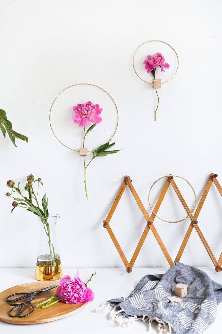 minimal flower, wall art, hanging wall decor, how to make