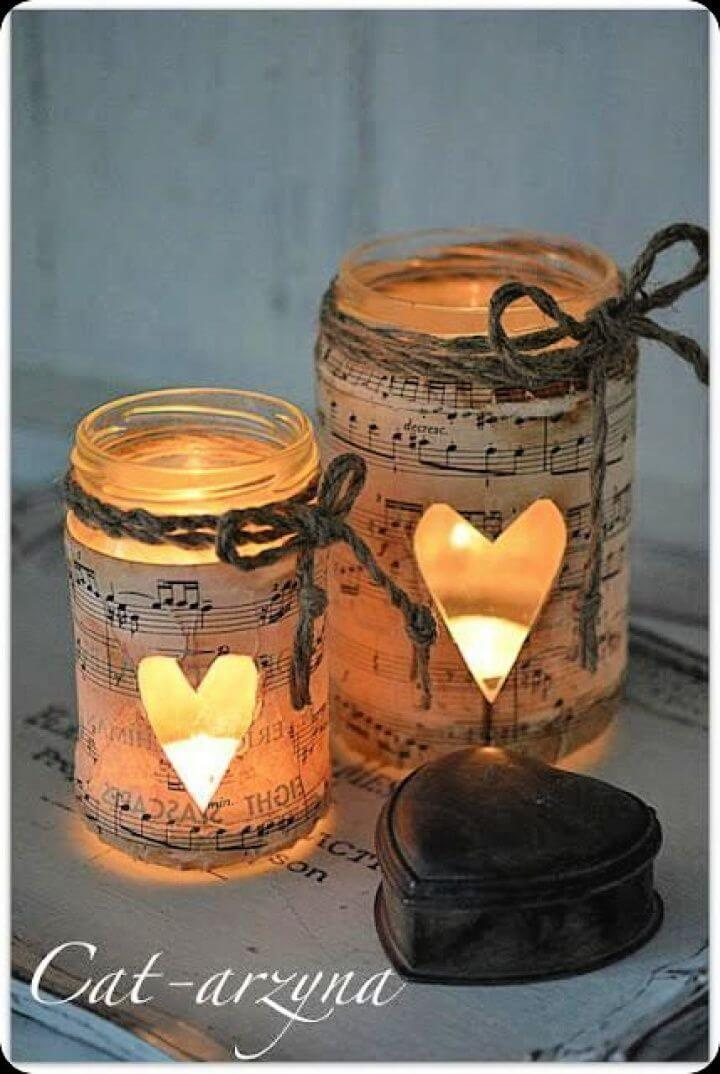 music jars, music mason jars, hearts mason jars, candle mason jars