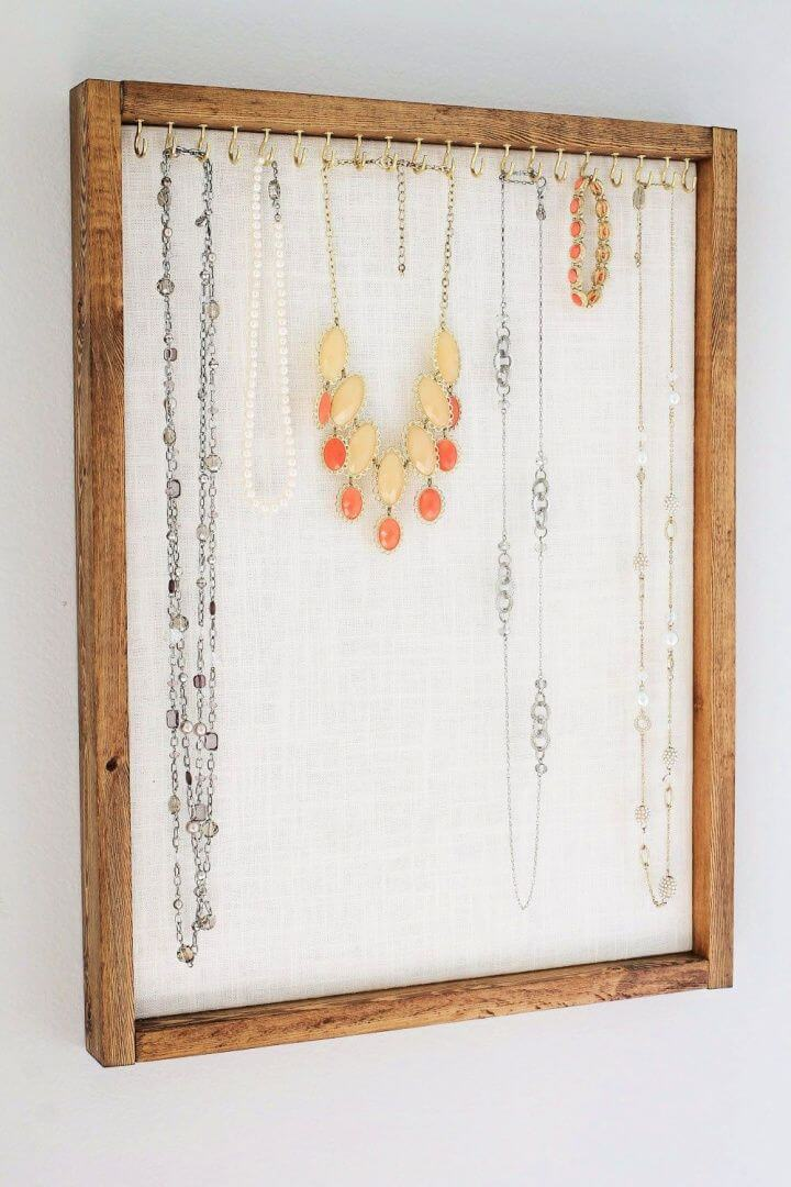 repurposed necklace holder, necklace ideas, necklace organizers,