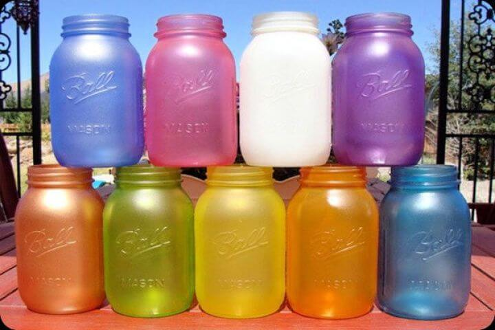 colorful mason jars, simple mason jars, how to, diy ideas