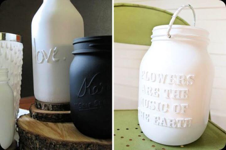 textured typography, mason jars, how to crafts, how to ideas, creativediys