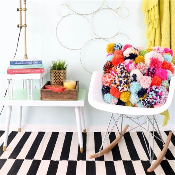 DIY Bedroom Decor Ideas - Cozy Pom Pom Pillow - Easy Room Decor Projects for The
