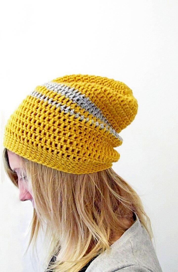 crochet slouchy beanie, crochet patterns, crochet for beginners,