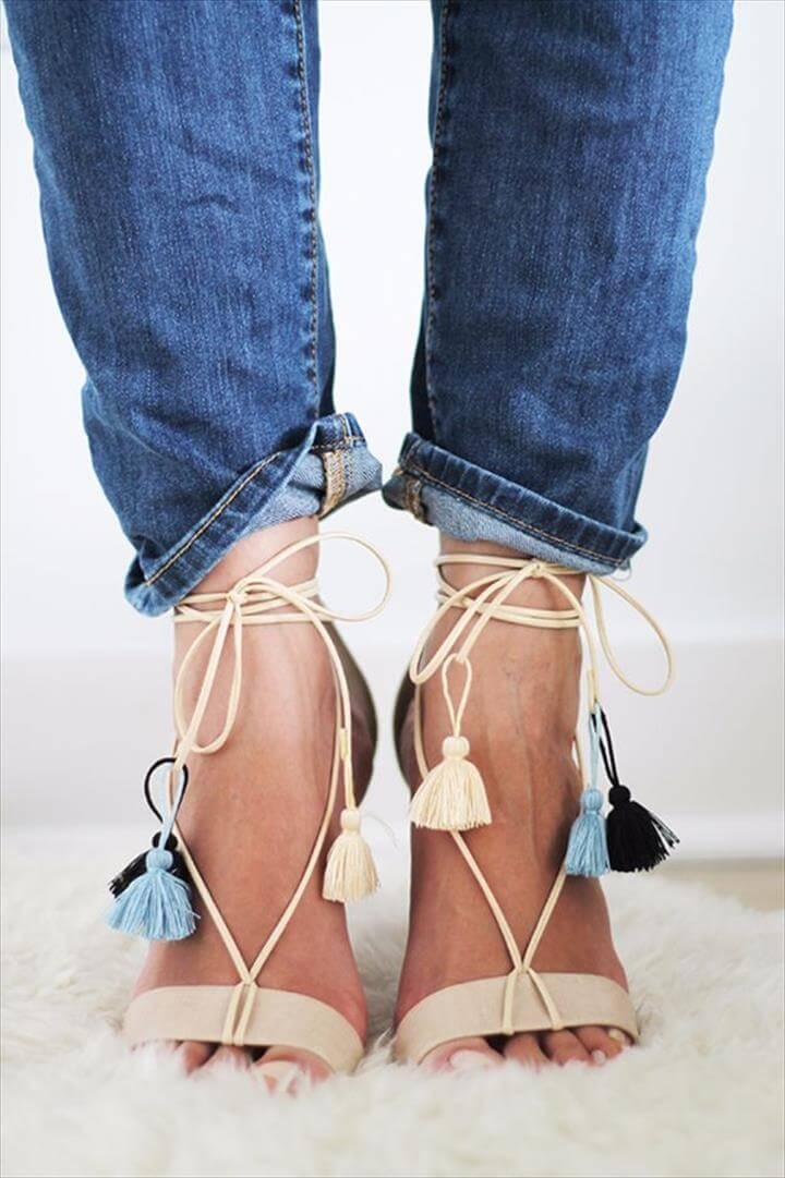 Diy Lace Up Heels Tie Up Heels Boho Heels Boho Sandals Tassel Heels Diy Lace Sneakers Lace Up Shoes Cute Shoes Denim Sneakers, Diy Fashion, Diy Lace Up Heels, Tie Up Heels, Boho Heels, Boho Sandals, Tassel Heels, Diy Lace Sneakers, Lace Up Shoes, Cute Shoes, Denim Sneakers, Zara Shoes, Jordans, Tassels, Lace Up, Shoes Sandals, Orange, Jordan Sneakers,