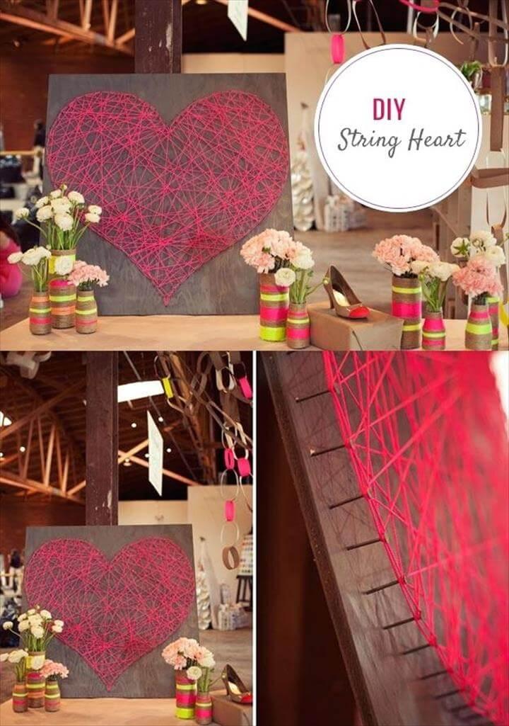 wall art, string art, heart art