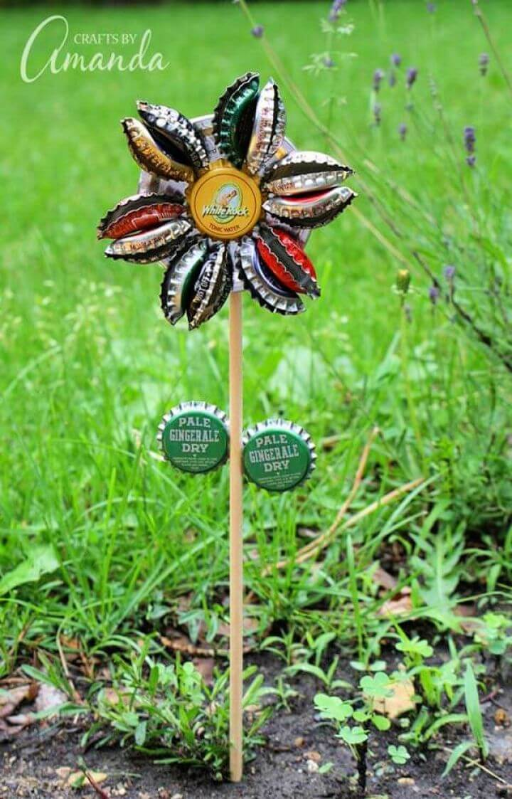 diy metal bottle, bottle cap pinwheel, garden projects, garden decor,