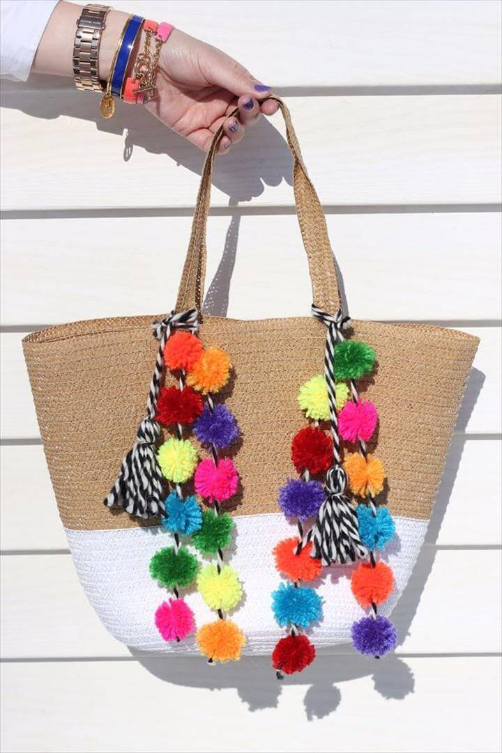 DIY pom pom bag, Nursery Storage, Rattan Basket, Picnic Bag, Beach Picnic, Ikea, Diy Tassel, Tassels, Diy Straw, Pom Pom Bag Charm, Diy Keychain, Pompoms, Craft Bags, Easy Diy Projects, Diy Clothes, Belly Basket, Pom Poms, Pom Pom Diy, Pom Pom Crafts, How To Make Tassels, How To Make A Pom Pom, Diy Fashion, Beach Bags, Beach Accessories, Make Your Own, Pool Accessories, Diy Fashion Projects, Cool Diy Projects, Pom Poms, Pom Pom Crafts, Pom Pom Diy, Diy Tassel, Tassels, Straw Bag, Boho, Basket Decoration, Pompoms,