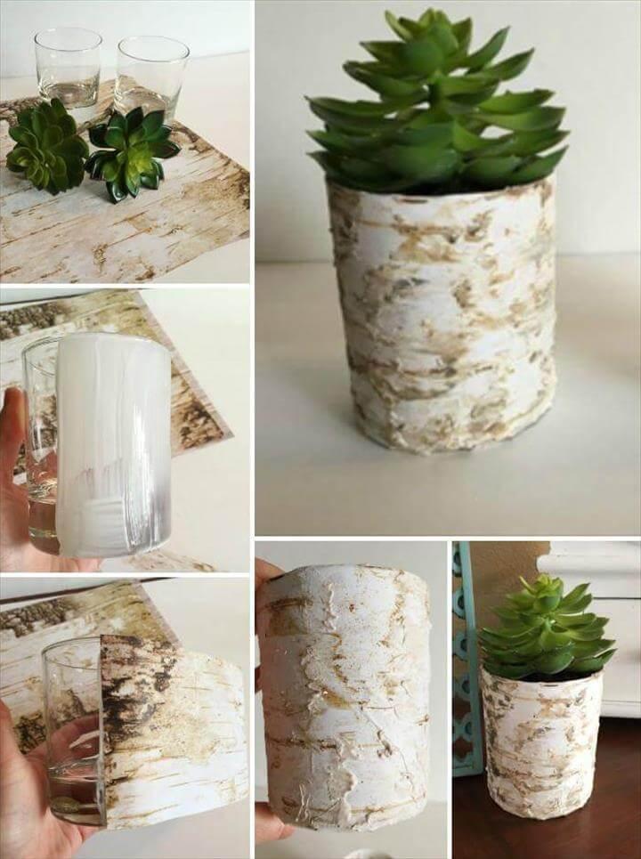 DIY scrapbook paper birch vases
