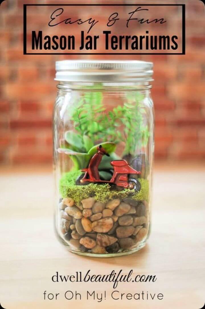 easy mason jars, diy terrarium mason jar,