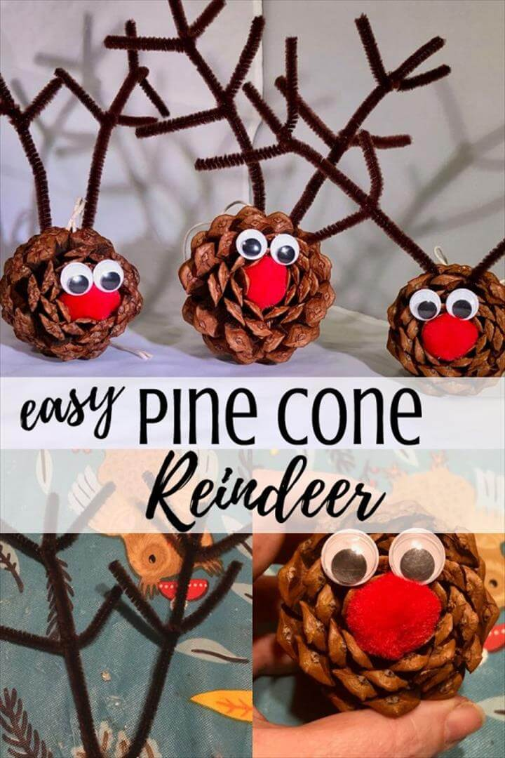 Easy & cute DIY pine cone crafts for kids - This Rudolph the Red Nosed Reindeer
