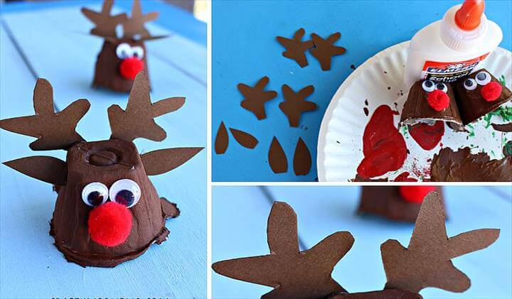 Egg Carton Reindeer Christmas Craft is super easy to make