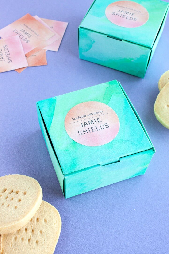 Watercolor Treat Boxes with Tiny Prints
