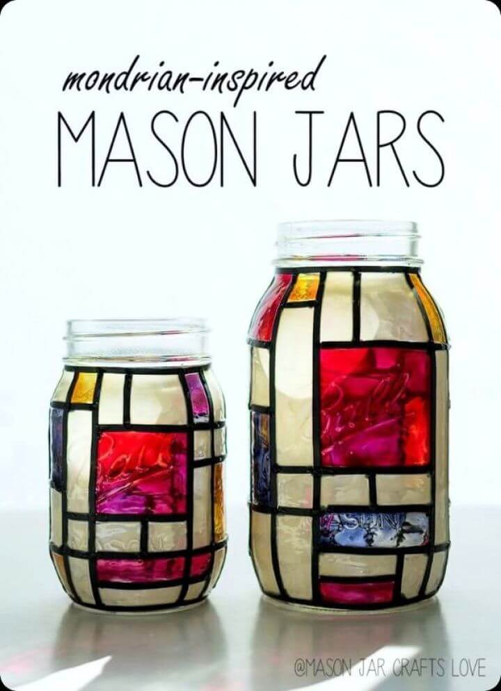 mondrian inspired, mason jars, diy ideas, diy crafts, diy projects, how to crafts,
