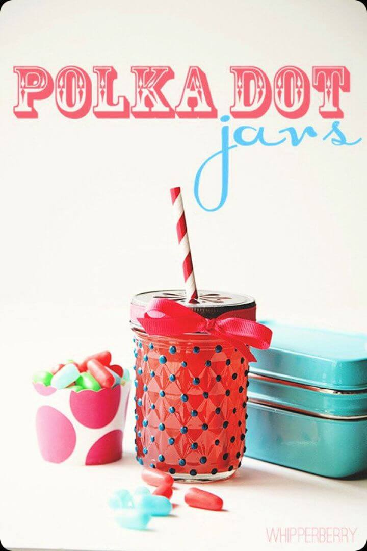 polka dot, creative mason jar, straw mason jars, diy craft ideas,