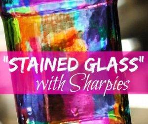 stained glass, with sharpie, creative diys, creative ideas, diy mason jars, diy ideas,