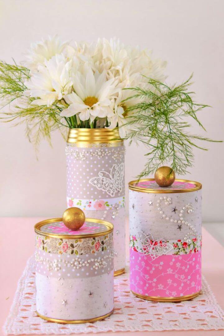 upcycled, tin cans, tin can storage ideas, tin can vases, tin can gifts,