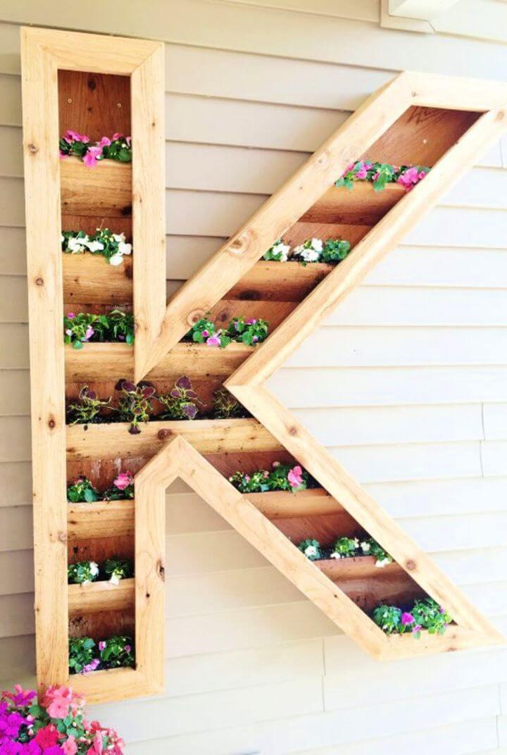 backyard ideas, monogram planters, k sign for garden, garden wall decor, garden planters, ideas,