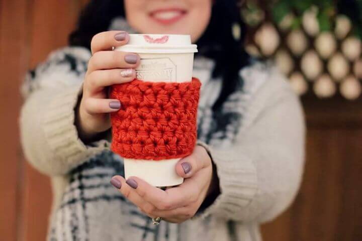 crochet coffee cup, coffee cup cozy, crochet for beginners,
