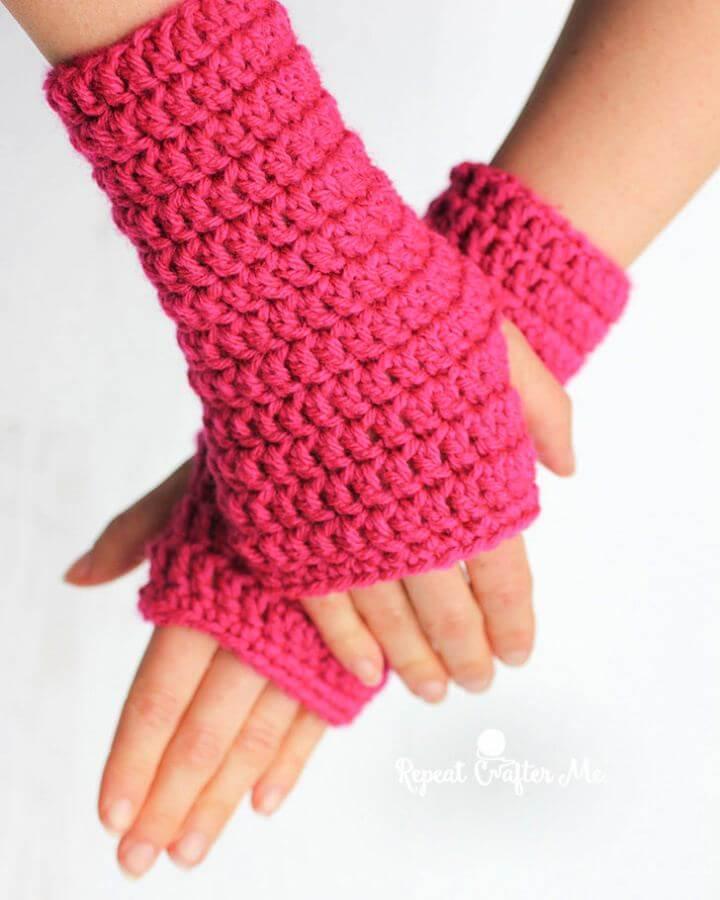 50 Minute Fingerless Crochet Gloves