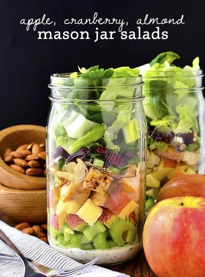 Apple, Cranberry, Almond Mason Jar Salads (Make-Ahead!) - Iowa Girl Eats