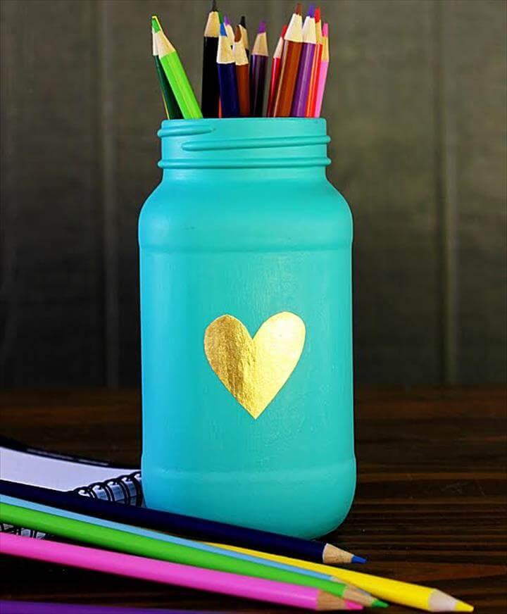 Aqua Mason Jar Pencil Holder