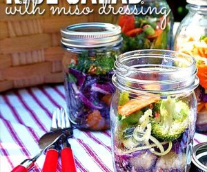 Asian Mason Jar Salad with Rice and Miso Dressing