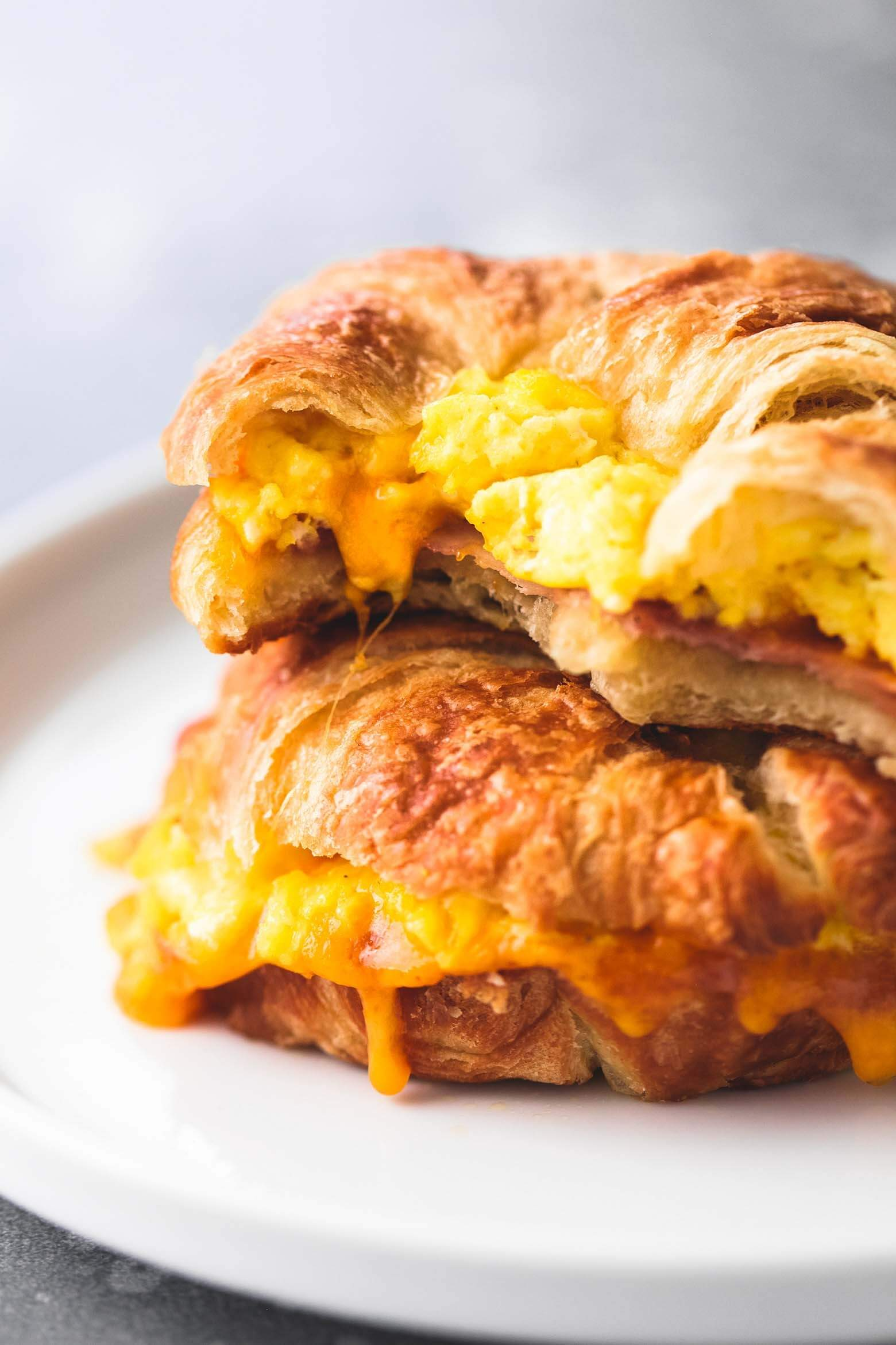 Baked Croissant Breakfast Sandwiches