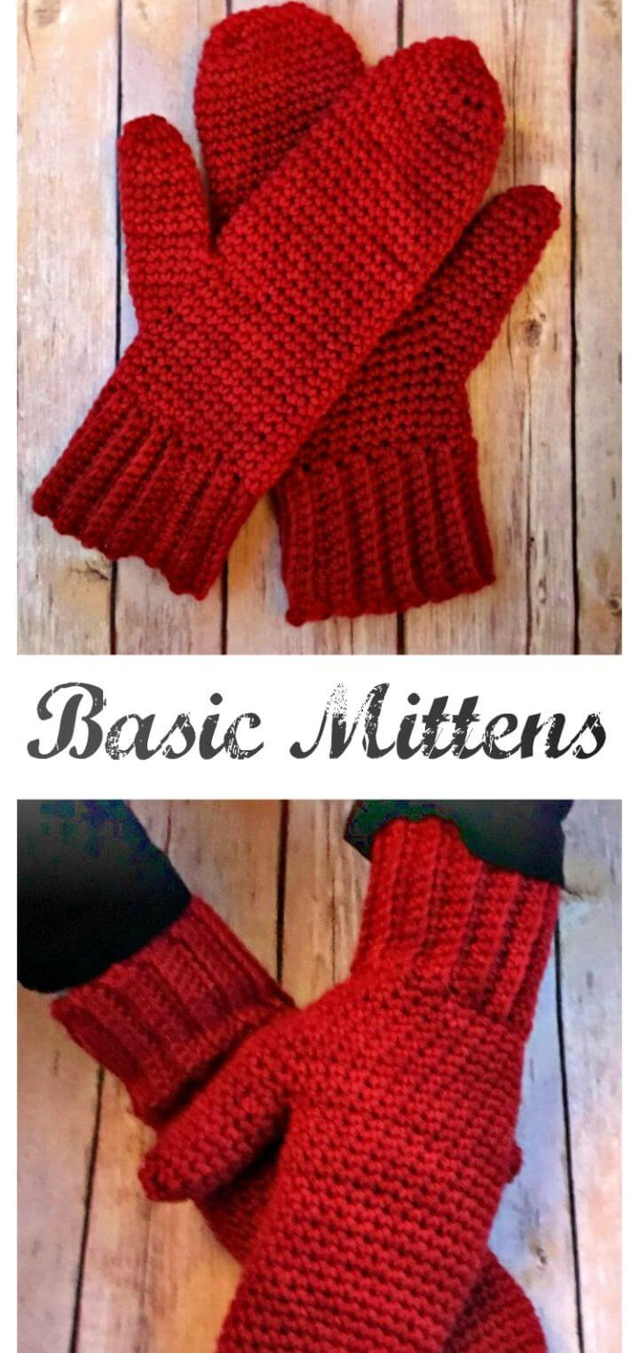Basic Mittens – Free Crochet Gloves Pattern