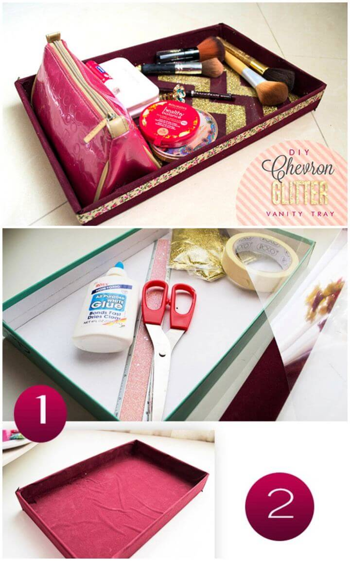 Beautiful DIY Chevron Glitter Vanity Tray