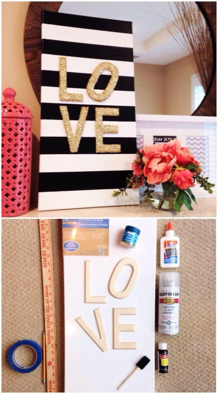 "Beautiful DIY Glitter ""Love"" Canvas"