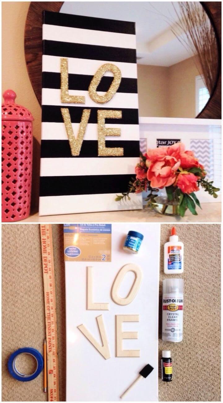 "Beautiful DIY Glitter ""Love"" Canvas"