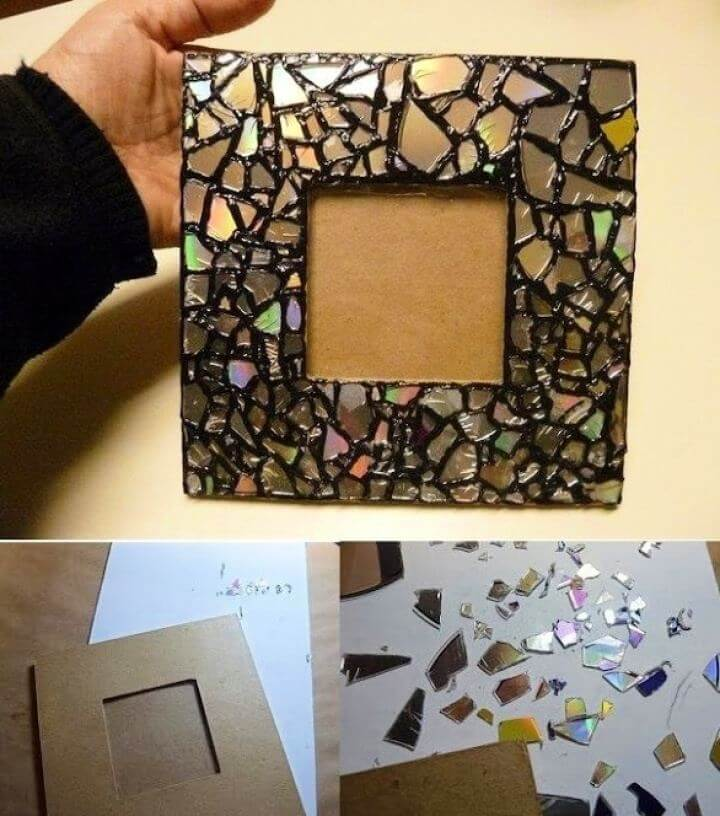 Beautiful DIY Mosaic Picture Frame From Old CDs