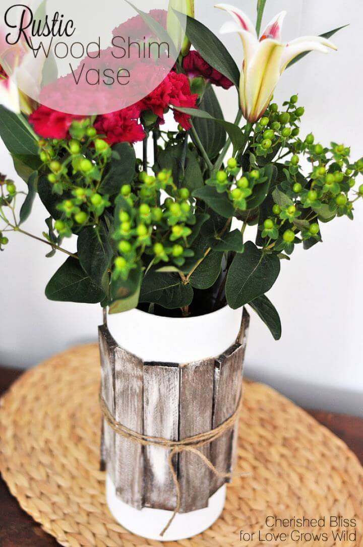 Beautiful DIY Rustic Wood Shim Vase Tutorial