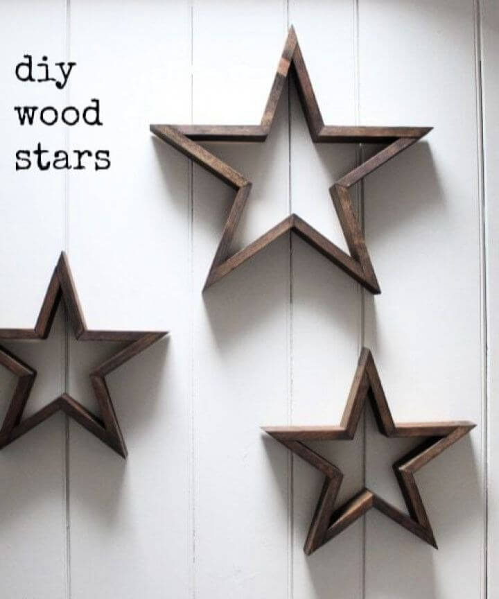 Beautiful DIY Wood Stars For Living Room