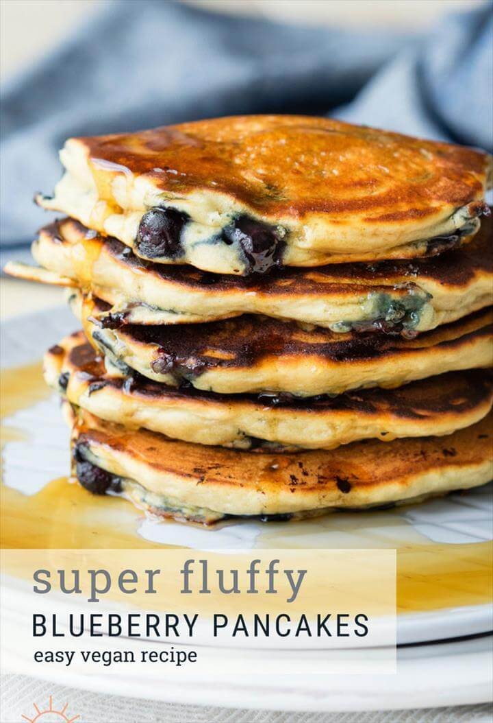 Blueberry Vegan Pancakes that are very fluffy