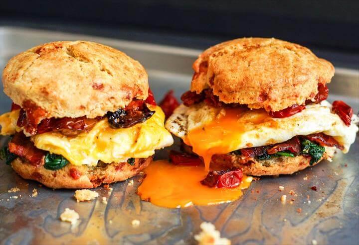 Blue Cheese Biscuit Breakfast Sandwiches