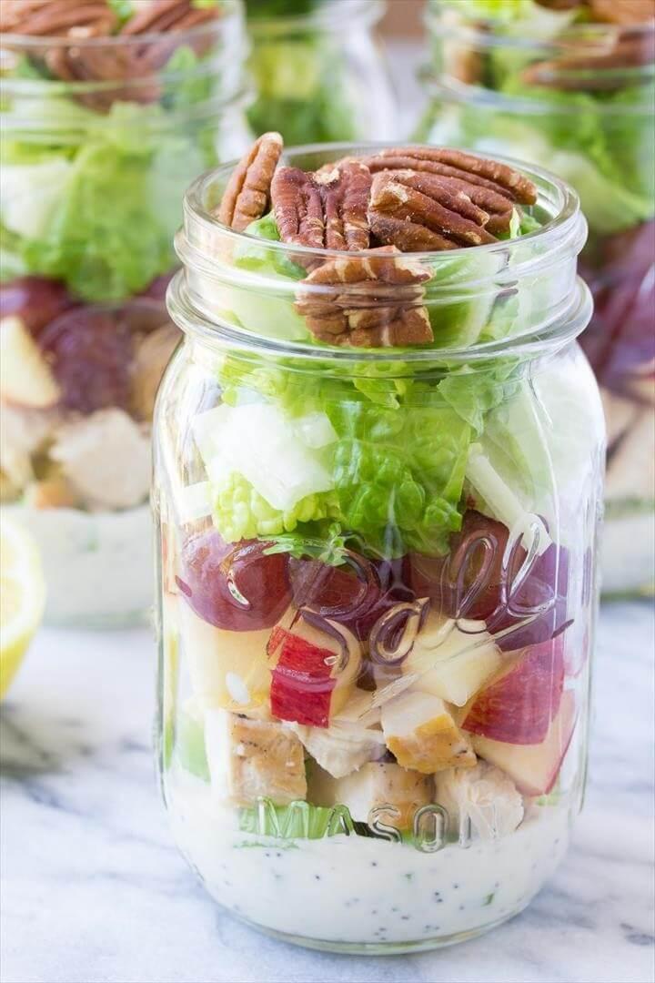 Chicken Salad Mason Jar Salads with Creamy No-Mayo Dressing