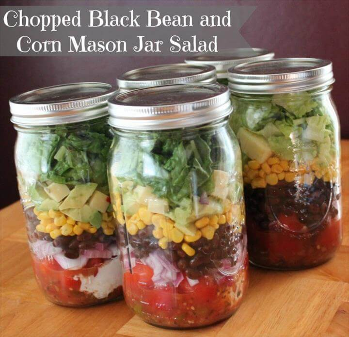 Mason Jar Salad Recipe Chopped Black Bean and Corn, Comfort Food. Pumpkin Mac and Cheese. Photo: Caramel Potatoes. Chicken Pot Pie. Photo: Cooking with Jax. Deconstructed Sushi Jar. Photo: Spoon University. Almost Instant Noodle Soup. Photo: The Kitchn. Burrito Bowl. Photo: Strictly Delicious. Mason Jar Pesto Pasta. Photo: Rodale's. Cornbread Chili in a Jar. Photo: