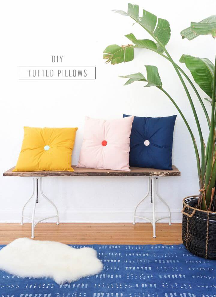 Colorful DIY Tufted Pillows For Home Decor
