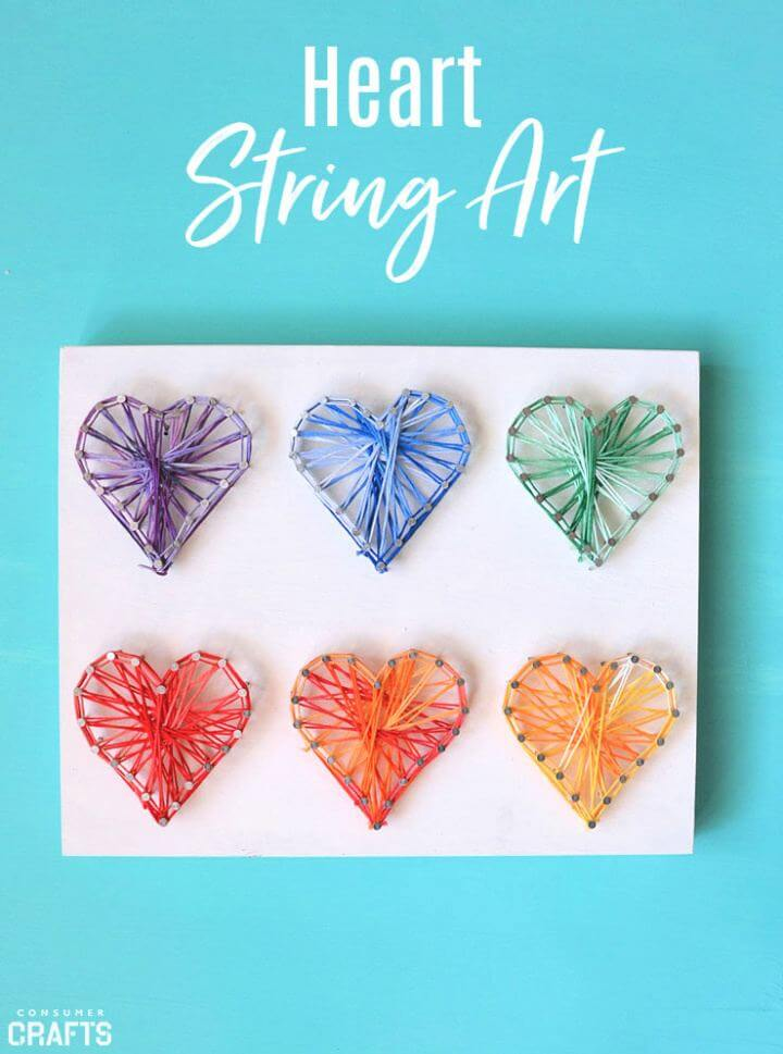Colorful Heart DIY String Art