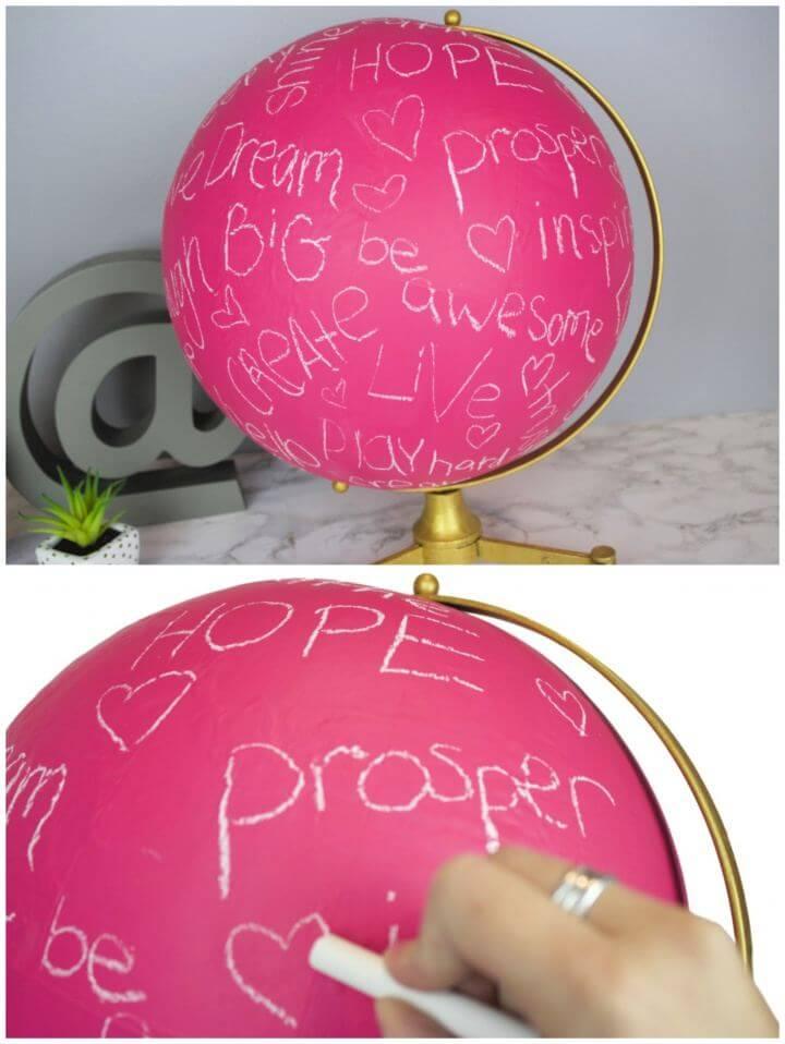 Create Your Own Pink Chalkboard Globe