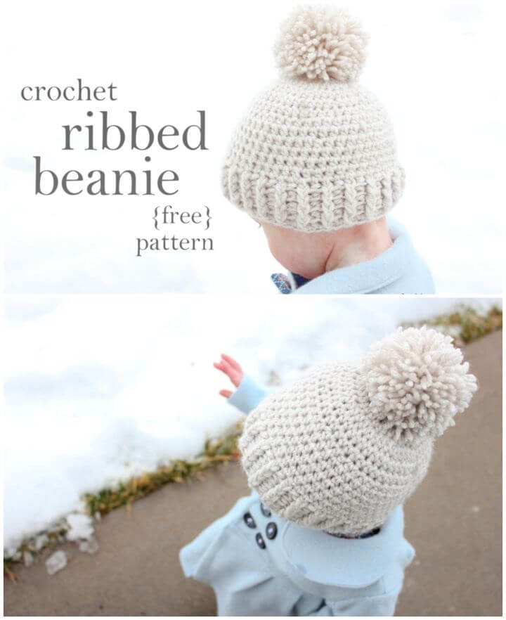 Crocheted Hat Ribbed Beanie – Free Pattern